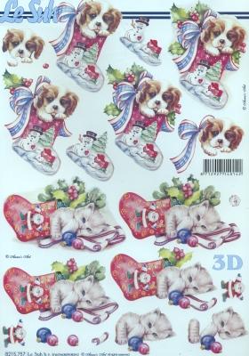 3D Bogen / Tiere, Tiere - Hunde,  Tiere - Katzen,  Le Suh,  Weihnachten,  3D Bogen,  Katzen,  Hunde
