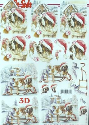 3D Bogen,  Tiere - Hunde,  Le Suh,  Weihnachten,  3D Bogen,  Hunde