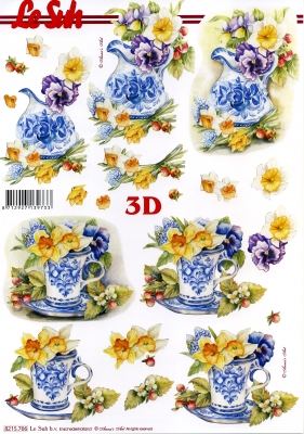 3D Bogen / Nouvelle 8215-.....,  Blumen - Osterglocken,  Le Suh,  Frühjahr,  3D Bogen,  Narzissen