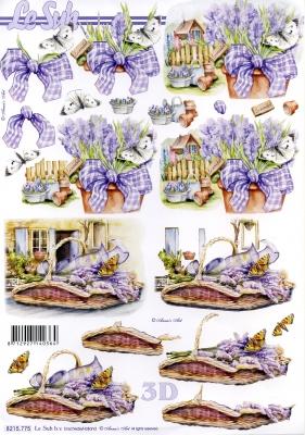 3D Bogen  - Format A4,  Blumen -  Sonstige,  Le Suh,  Frühjahr,  3D Bogen,  Lavendel