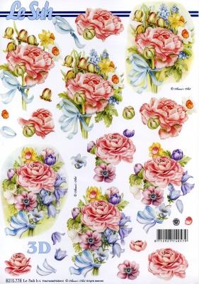 3D Bogen  - Format A4,  Blumen - Rosen,  Le Suh,  Frühjahr,  3D Bogen,  Rosen