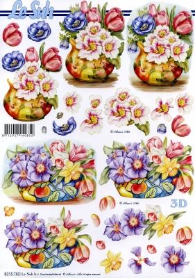 3D Bogen / alle anderen, Blumen - Osterglocken,  Blumen - Tulpen,  Le Suh,  Frühjahr,  3D Bogen,  Tulpen,  Narzissen