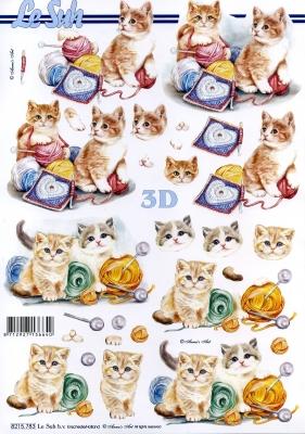 3D Bogen / Nouvelle 8215-.....,  Tiere - Katzen,  Le Suh,  Frühjahr,  3D Bogen,  Katzen