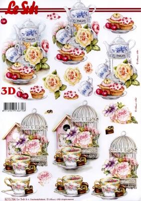 3D Bogen  - Format A4,  Blumen - Rosen,  Le Suh,  Frühjahr,  3D Bogen,  Rosen,  Kekse,  Tee