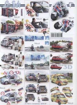 3D Bogen  - Format A4,  Fahrzeuge - Autos,  3D Bogen
