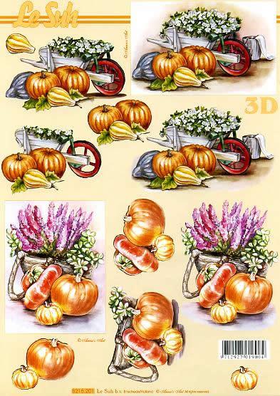 3D Bogen Kürbisse - Format A4,  Le Suh,  Le Suh,  3D Bogen,  Schubkarre mit Blumen