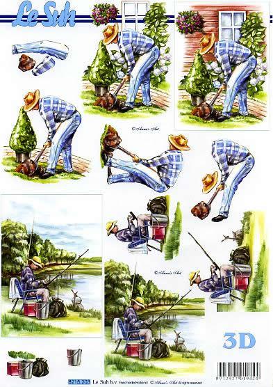 3D Bogen Gärtner - Format A4,  Le Suh,  Le Suh,  3D Bogen,  Gärtner bei der Gartenarbeit,  Angler am See