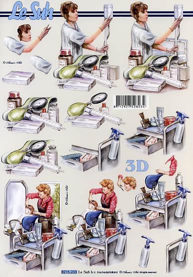 3D Bogen Krankenpflegerin + Friseuse - Format A4,  Menschen - Personen,  Le Suh,  3D Bogen,  Krankenpflegerin + Friseuse