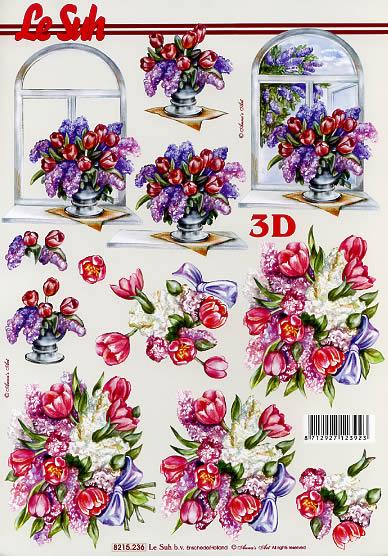3D Bogen Tulpen + Flieder - Format A4,  Blumen -  Sonstige,  Le Suh,  3D Bogen,  Tulpen + Flieder