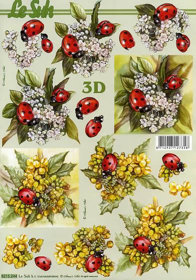 3D Bogen Marienkäfer - Format A4,  Blumen -  Sonstige,  Le Suh,  3D Bogen,  Marienkäfer auf Blüten