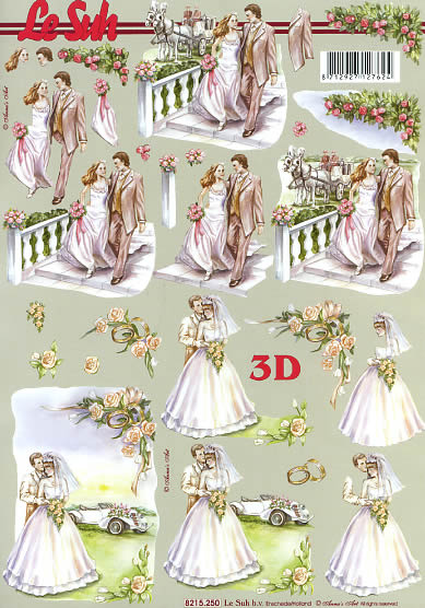 3D Bogen Brautpaar - Format A4,  Blumen -  Sonstige,  Le Suh,  3D Bogen,  Brautpaar,  Rosen,  Brautstrauß,  Kutsche
