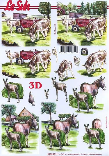 3D Bogen Der Bauernhof - Format A4,  Regionen - Wald / Wiesen,  Le Suh,  3D Bogen,  Der Bauernhof,  Esel auf der Wiese,  Traktor