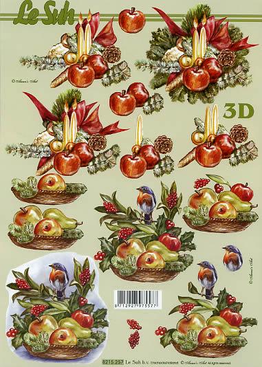 3D Bogen  - Format A4,  Weihnachten - Baumschmuck,  Le Suh,  3D Bogen,  Weihnachtsgesteck,  Obst,  Vogel,  Tannenzapfen