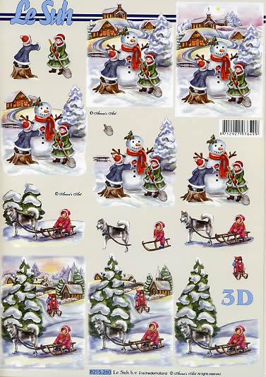 3D Bogen Kinder im Schnee - Format A4,  Winter - Schlitten,  Le Suh,  3D Bogen,  Winterlandschaft,  Hundeschlitten