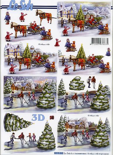 3D Bogen  - Format A4,  Weihnachten - Weihnachtsmann,  Le Suh,  3D Bogen,  Weihnachtsmann auf Pferdeschlitten mit Geschenken,  Kinder mit Schlitten,  Winterlandschaft