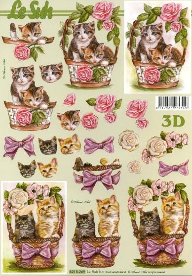 3D Bogen  - Format A4,  Blumen -  Sonstige,  Le Suh,  3D Bogen,  Katzen im Blumenkorb