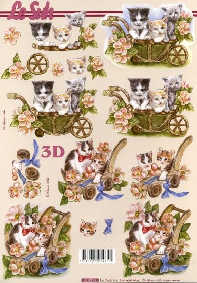 3D Bogen Katzen - Format A4,  Blumen -  Sonstige,  Le Suh,  3D Bogen,  Katzen in Blumenkarre