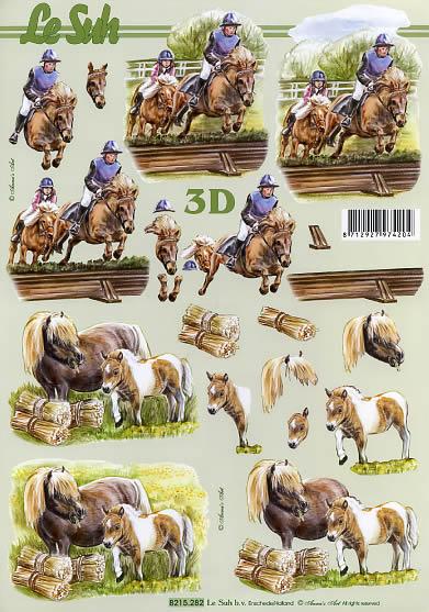 3D Bogen Reitsport+Pferde - Format A4, Sport - Reiten,  Tiere - Pferde,  Le Suh,  3D Bogen,  Pferde