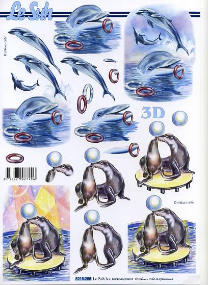 3D Bogen Seehund+Delphine - Format A4,  Tiere - Fische,  Le Suh,  3D Bogen,  Seehund,  Delphin