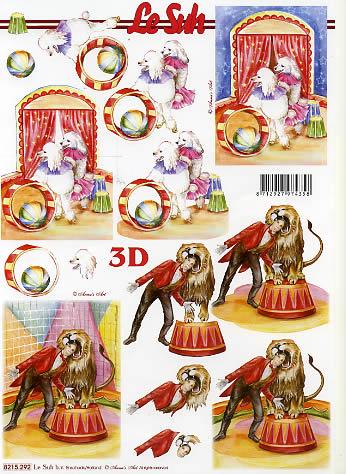 3D Bogen  - Format A4,  Tiere - Löwen,  Le Suh,  3D Bogen,  Zirkus,  Manage