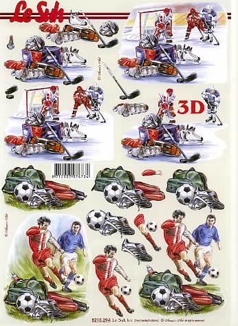 3D Bogen Eishockey+Fußball - Format A4,  Menschen - Personen,  Le Suh,  3D Bogen,  Eishockey,  Fußball