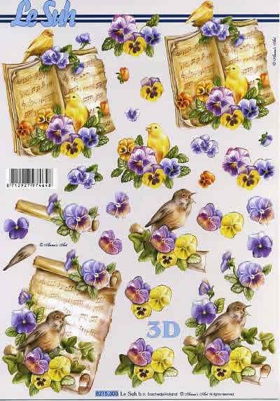3D Bogen Veilchen Vogel - Format A4,  Blumen - Stiefmütterchen,  Le Suh,  3D Bogen,  Notenblätter,  Veilchen