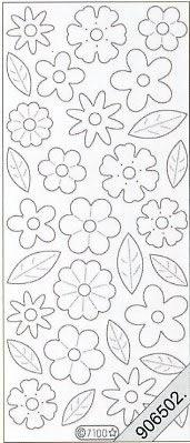 Stickers / Samt, weiß,  Blumen