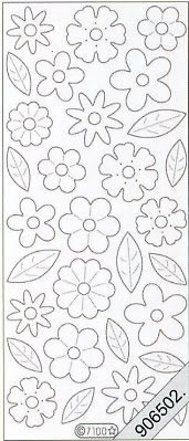 Samt Stickers 10 x 23 cm - beige,  sonstige,  Blumen