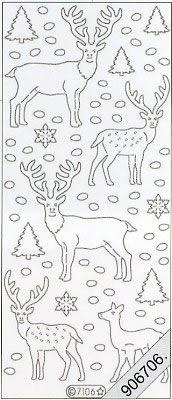 Samt Stickers 10 x 23 cm - blau, blau,  Hirsch,  Schnee