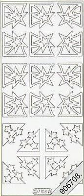 Samt Stickers 10 x 23 cm - grün, grün,  Sterne