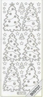 Stickers / Aufkleber, rot,  Art - Stickers Glitter transparent,  Art - Glitter Sticker,  Jahreszeit - Weihnachten,  Weihnachtsbaum
