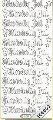 Stickers / Texte, rot,  Art - Stickers Glitter transparent,  Art - Glitter Sticker,  dänisch,  Jahreszeit - Weihnachten
