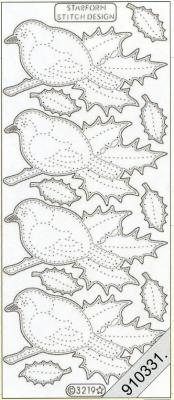 Starform, silber,  Art - Stickers zum sticken,  Jahreszeit - Everyday,  Vögel,  Blätter