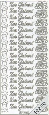 Stickers 0435 - Zur Geburt - rosa, rose,  Schriften