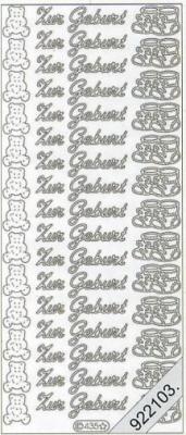1 Stickers - 10 x 23 cm Zur Geburt - silber, silber,  Schriften - deutsch