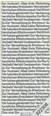 1 Stickers - 10 x 23 cm Zur Hochzeit usw. - silber, silber,  Schriften - deutsch,  Ereignisse - Feier,  Jahreszeit - Everyday