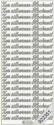 Stickers 0434 - Zur silbernen Hochzeit - silber, silber,  0434 - Zur silbernen Hochzeit,  Schriften