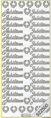 1 Stickers - 10 x 23 cm 0436 - Jubiläum - silber, silber,  0436 - Jubiläum