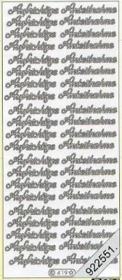 1 Stickers - 10 x 23 cm 0419 - Aufrichtige Anteiln. - silber, silber,  Ereignisse - Trauer,  0419 - Aufrichtige Antein.,  Schriften,  Blumen