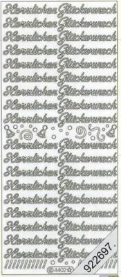 Stickers Herzlichen Glückwunsch - silber, silber,  Schriften - deutsch,  Ereignisse - Feier,  Jahreszeit - Everyday