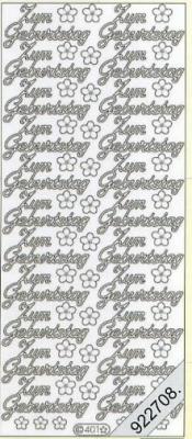 1 Stickers - 10 x 23 cm 0401 - zum Geburtstag - silber, silber,  0401 - zum Geburtstag,  Schriften,  Blumen