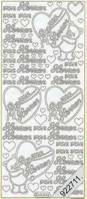 Stickers 0406 - von Herzen - silber, silber,  0406 - von Herzen,  Schriften,  Bärchen,  Herzen,  Geburtstag