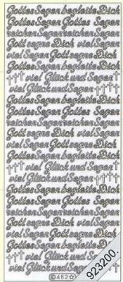 1 Stickers - 10 x 23 cm Gottes Segen begleite Dich - silber, silber,  Schriften - deutsch,  Ereignisse - Kommunion,  Jahreszeit - Everyday,  Kommunion,  Konfirmation