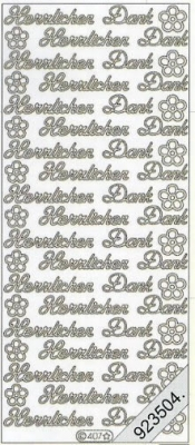 Stickers 0407 - Herzlichen Dank - silber, silber,  0407 - Herzlichen Dank,  Blumen