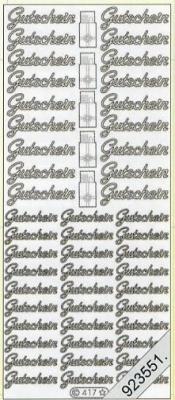 1 Stickers - 10 x 23 cm 0417 - Gutschein - silber, silber,  Schriften - deutsch,  Jahreszeit - Everyday,  Gutschein