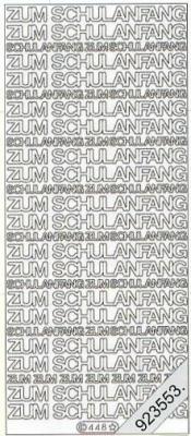 1 Stickers - 10 x 23 cm 0448 - Schulanfang - gold, gold,  Schriften - deutsch,  Ereignisse - Sonstige,  Jahreszeit - Sommer,  Einschulung