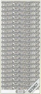 1 Stickers - 10 x 23 cm Frohe Weihnachten - silber, silber