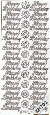 1 Stickers - 10 x 23 cm Happy Birthday - silber, silber,  Schriften - englisch,  Jahreszeit - Everyday,  Geburtstag