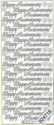 1 Stickers - 10 x 23 cm english - Happy Anniversary - gold, gold,  gold