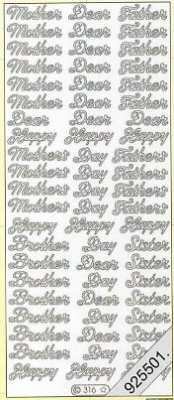 Stickers Mother Dear Father Happy Day a.s.m - silber